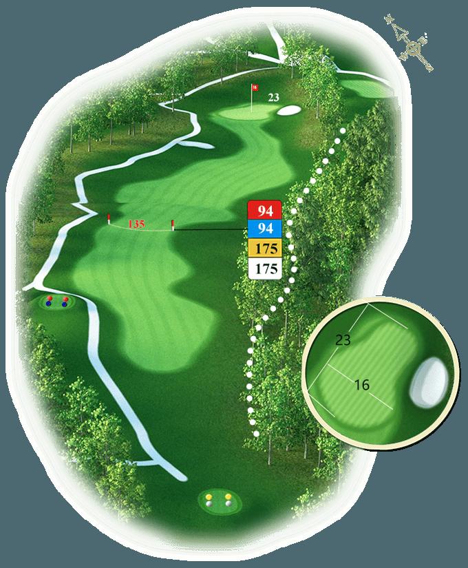 Plan du trou numéro 18 - Golf de Souillac - Vallée de la Dordogne